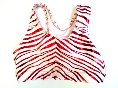Red Metallic Zebra on White Icupid Sports Bra