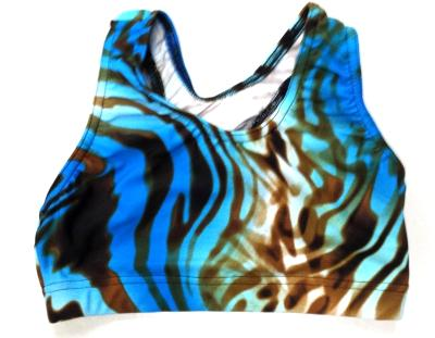 Brown and Blue Tie Dye Zebra Sports Bra