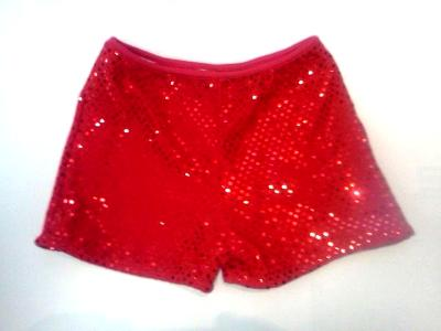 Cheerleading Metallic Sequin Boy Cut  Briefs Red