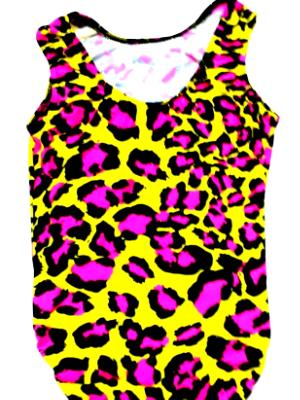 Pink and Yellow Leopard Dance and Gymnastic Leotard.