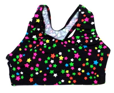 Multi Stars Black Sports Bra - OUT OF STOCK