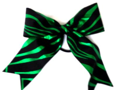 Green Zebra Hair Bow