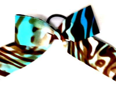 MCC Blue and Brown Zebra Tie Dye Hair Bow