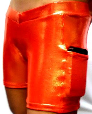 Power Shorts Orange Metallic Briefs
