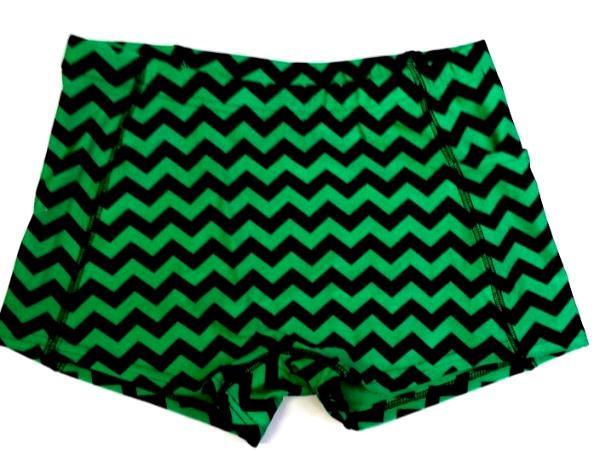 Chevron Green and Black Icupid Shorts