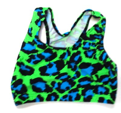 Crazy Leopard Turquoise and Lime Leopard Sports Bra