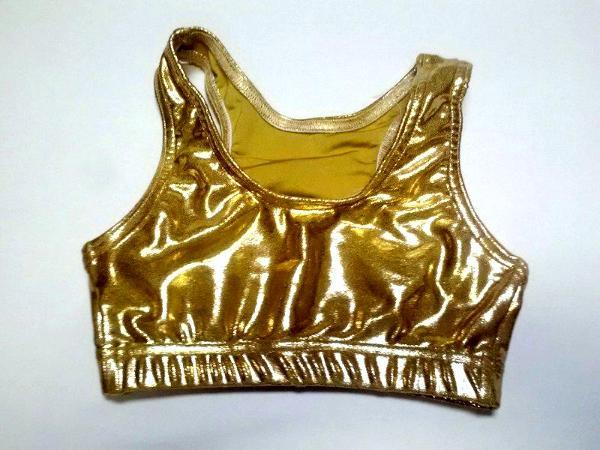 Metallic Mystique Razorback Sports Bra Gold