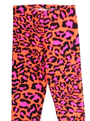 Neon Pink and Orange Cracy Leopard Capris