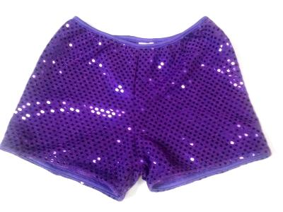 Cheerleading Metallic Sequin Boy Cut Briefs Purple