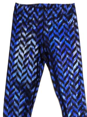 Black & Blue Metallic Zig Zag Capris - LIMITED AVAILABILITY