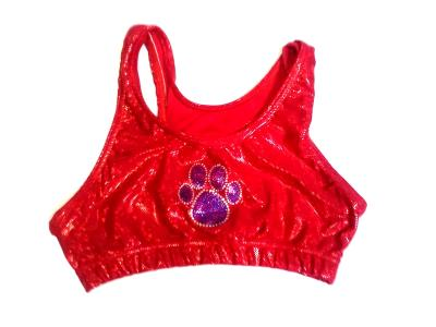 Red Shatter Glass Sports Bra with Royal Paw