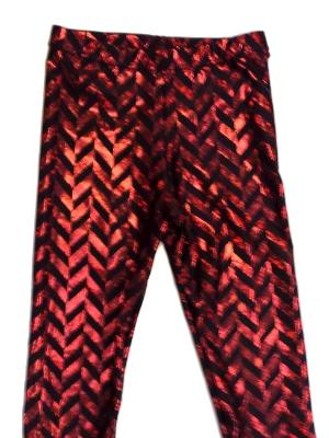 Red & Black Metallic Zig Zag Capris - LIMITED AVAILABILTY