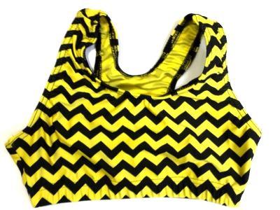 Chevron Yellow and Black Sports Bra
