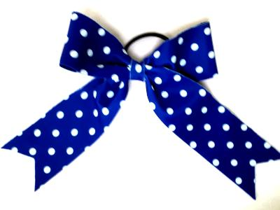 Royal With White Dots Hair Bow