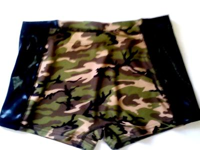 Camo iCupids shorts with pocket and Black Mystique Metallic Insets