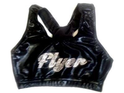 FLYER Front Razorback Sports Bra Black Mystique