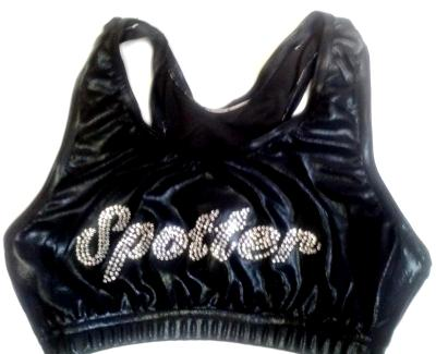 Front SPOTTER Razorback Sports Bra Black Mystique Bling