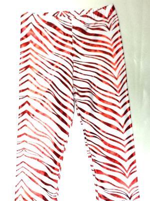 Red Metallic Zebra on White Capris