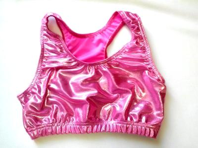 Bubble Gum Baby Pink Mystique Metallic Sports Bra