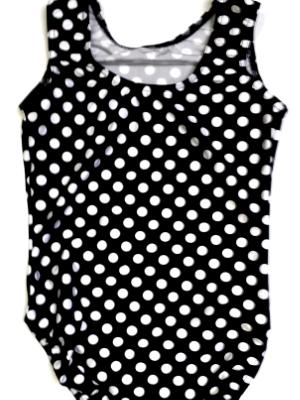 Black and White Polka Dots Gymnastics and Dance Leotard.
