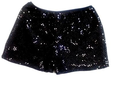 Cheerleading Metallic Sequin Boy Cut Briefs Black