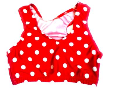 Crazy Dots Sports Bra White on Red
